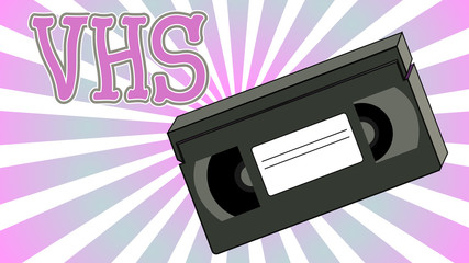 Old retro vintage analogue hipster with film video tape for a video recorder with a magnetic film for watching movies and the inscription VHS on an abstract background of rays