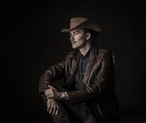 Modern cowboy in studio
