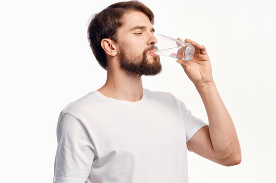 healthy lifestyle a man drinking water