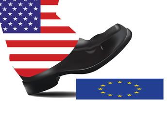 piede  americano schiaccia europa