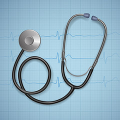 Realistic Medical stethoscope. background with stethoscope medical equipment, Health care concept. Vector art.