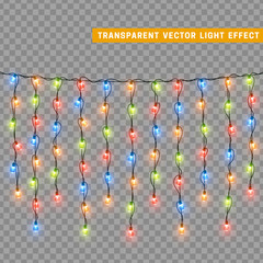 Garlands colorful, Christmas decorations lights effects.