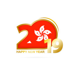 Year 2019 with Hong Kong Flag pattern. Happy New Year Design.