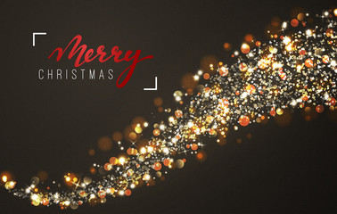 Christmas background with bright realistic glitter confetti of stars. Xmas Holiday glowing lights effect. Greeting cards design Merry Christmas and Happy New Year,