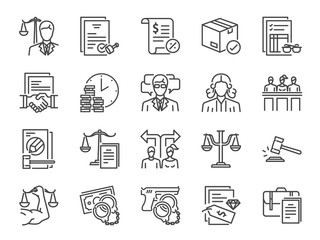 Legal services icon set. Included icons as law, lawyer, judge, court, advocacy and more.