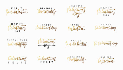Text of gold lettering for Valentines Day. Lettering in different languages, French, Spanish, German and Portuguese. Emblems design golden and white. Usable for banners, greeting cards