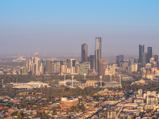 Aerial view above Melbourne's city skyline
