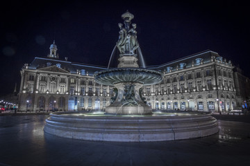 Fountain of the Three Graces, Place de la Bourse in Bordeaux