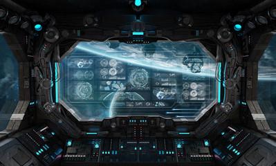 Fototapete - Dark spaceship interior with control panel digital screens 3D rendering