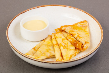Pancakes with condensed milk