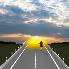 Lebensweg, Person läuft in den leuchtenden Sonnenuntergang. 3d Illustration