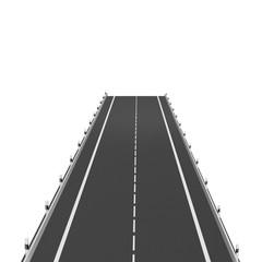 Leere Straße auf weiß isoliert. 3d rendering