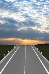 Lebensweg, leere Straße führt in den Sonnenuntergang. 3d Illustration
