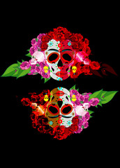 Mexican skull, Calavera with flowers. Decoration for Day of the Dead, Dia de los Muertos. Halloween poster background, greeting card or t-shirt design. Frida style. Vector skulls isolated on black
