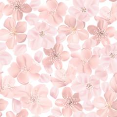 Floral retro seamless pattern, cherry or sakura flowers background, pastel vintage illustration in vector
