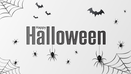 Happy halloween. Vector isolated pattern with hanging spiders and bats spider for banner, poster, greeting card. Vector illustration EPS10