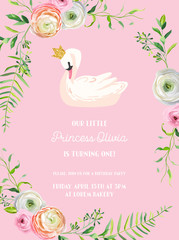 Baby Birthday Invitation Card with Illustration of Beautiful Swan and Flowers, arrival announcement, greetings in vector