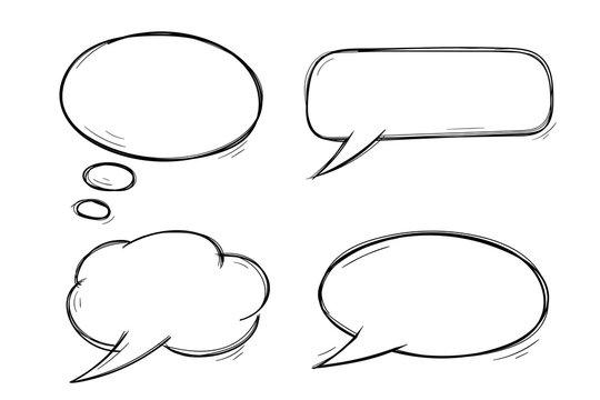 Speech bubbles. Doodles set