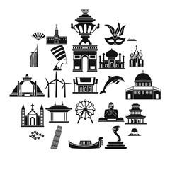 World religion icons set. Simple set of 25 world religion vector icons for web isolated on white background