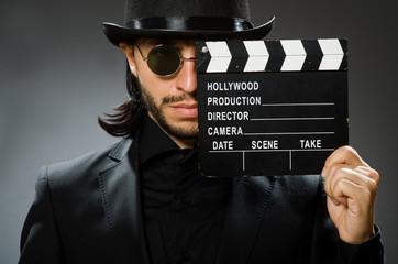 Foto op Canvas Surrealisme Vintage concept with man wearing black top hat