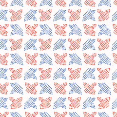 Folkloric Embroidery Leaf Stitches Seamless Vector Pattern. Hand Drawn Cross Stitch Illustration for Summer Fashion Prints, Patriotic Gift Wrap, Trendy Craft Packaging or Retro Red Blue Kitchenware
