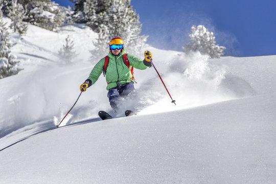 Offpiste skiing in deep powder snow