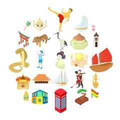 World travel icons set. Cartoon set of 25 world travel vector icons for web isolated on white background