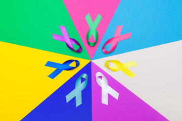 World cancer day background. Colorful ribbons, cancer awareness. multi-colored surface