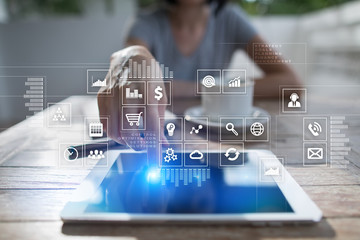 Virtual screen interface with applications icons. APPS. Strategy planning. Internet technology concept.