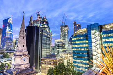 Aerial view of skyscrapers of the world famous bank district of central London after dusk