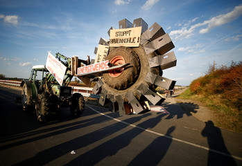 "A farmer's self made excavator drives after protest for the preservation of the ancient forest ""Hambacher Forst"", near the western German town of Kerpen-Buir west of Cologne"