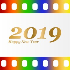 New year greetings for 2019 with colorful blank film and photographic window with golden inscription Happy new year and number 2019 on a white background