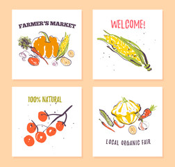 Vector set of hand drawn cards for food festival, farmers market and harvest fair with fresh hand drawn sketch food elements - vegetables. Good for price tags, banners, advertising, menu, package etc.