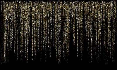 Garland lights gold glitter hanging vertical lines vector holiday background. Wall mural