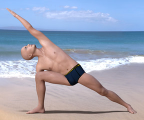 Bald man in black briefs practising the side angle or parsvakonasana yoga pose on a sandy beach. 3d render.
