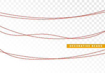 String beads realistic isolated. Decorative design element red bead.