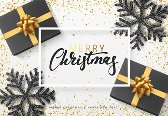 Christmas background with gifts and shining black snowflakes. Merry Christmas card vector Illustration.