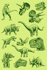 Graphical color set of dinosaurs ,vector illustration,paleontology