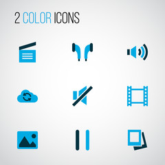 Multimedia icons colored set with pause, movie clap, volume up and other album