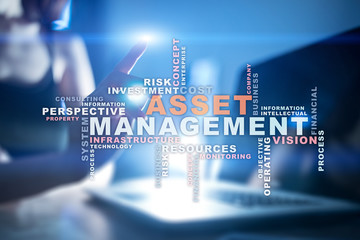 Asset management on the virtual screen. Business concept. Words cloud.
