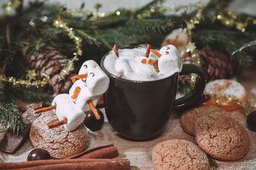 christmas happy marshmallow man in a cup of coffee