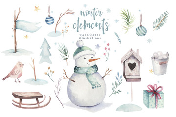 Watercolor Merry Christmas illustration with snowman, holiday cute animals deer, rabbit. Christmas celebration cards. Winter new year design.