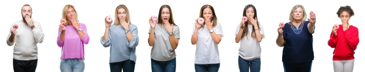Collage of group of people eating donut over isolated background cover mouth with hand shocked with shame for mistake, expression of fear, scared in silence, secret concept