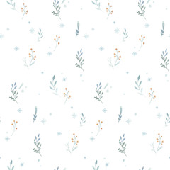 Wall Mural - Watercolor Merry Christmas seamless patterns with snowman, holiday cute animals deer, rabbit. Christmas celebration paper. Winter new year design.