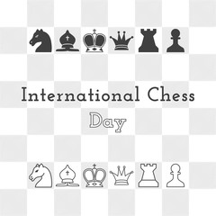 International Chess Day - greeting card with chess pieces and chess Board. Vector illustration of chess diagram. Template for your design.