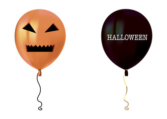 Halloween air flying balloons. Scary pumpkin face and black balloons. Halloween vector collection.
