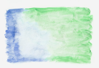 Sea green (jade) and dark blue mixed watercolor horizontal gradient background. It's useful for greeting cards, valentines, letters. Abstract art style handicraft surface