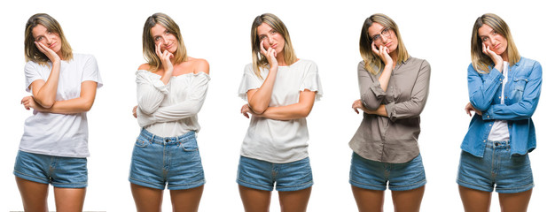 Collage of blonde beautiful woman wearing casual look over white isolated backgroud thinking looking tired and bored with depression problems with crossed arms.