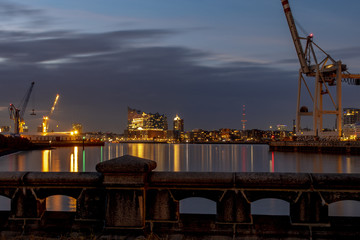 Panorama of the Harbor of Hamburg with the elbphilharmonic concert hall