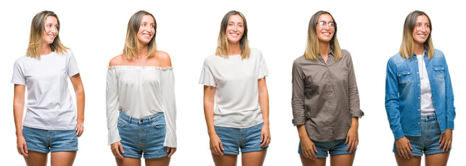 Collage of blonde beautiful woman wearing casual look over white isolated backgroud looking away to side with smile on face, natural expression. Laughing confident.